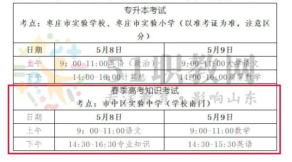 2021年枣庄市春季高考理论考试考点安排计划表
