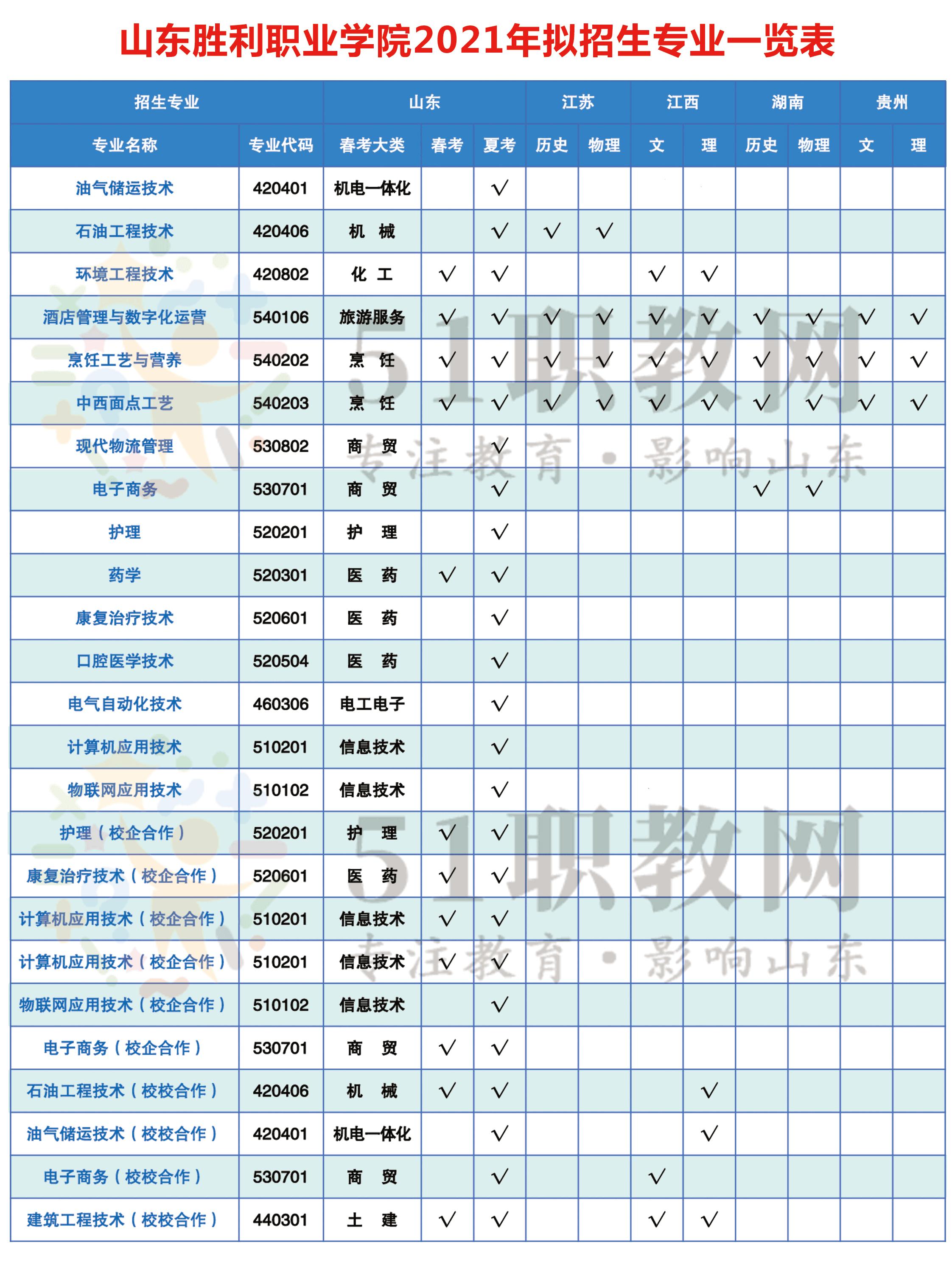 山东胜利职业学院2021年拟招生专业一览表